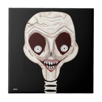 Ghoulish Skull Ceramic Tile