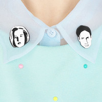Mulder and Scully X-Files collar clip set