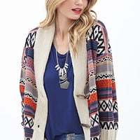 LOVE 21 Tribal-Inspired Toggle Cardigan Taupe/Navy