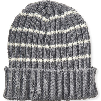 Aeropostale Striped Fold-Over Beanie - Med Heather Grey, One