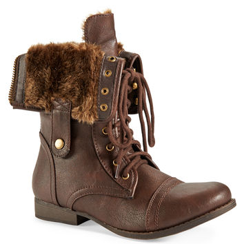 Aeropostale Faux Fur Foldover Boot - Dark Brown, 6