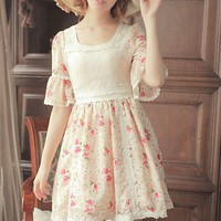 Women Chiffon Square Neckline Middle Sleeve Lace Top Red Flower Printed Fitting Dress S/M/L@MF9848 - Fashion Dresses - Women