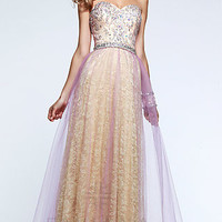 Strapless Lace Prom Dress by Faviana