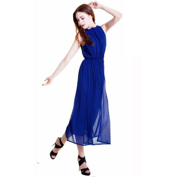 Chiffon Sapphire Blue Halter Long Dress YECO2L - Designer Shoes|Bqueenshoes.com