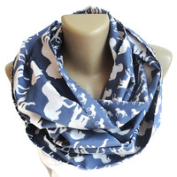 white horse scarf women scarf infinity scarf fashion scarves cotton scarf blue and white scarve scarf senoAccessory