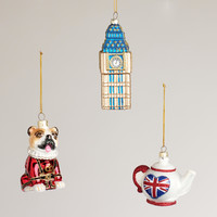 England Glass Ornaments,  Set of 3 - World Market