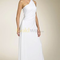 [US$189.99] One-Shoulder Sheath Sweep Train Chiffon Beach Wedding Dress