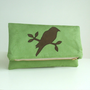 Foldover Clutch - Bird Applique - Envelope Bag - Faux Suede - Vegan