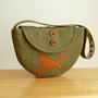 SALE Harris Tweed Purse Semi-Circle Design with Bird Applique - One of a Kind Bag