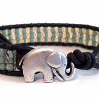 Leather Wrap Bracelet, Seascape Beaded Wrap, Good Luck Elephant, Friendship Bracelet, Chan Luu, PZW069