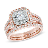 1-1/2 CT. T.W. Princess-Cut Diamond Double Frame Bridal Set in 14K Two-Tone Gold