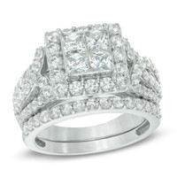 2-3/4 CT. T.W. Princess-Cut Quad Diamond Frame Bridal Set in 14K White Gold