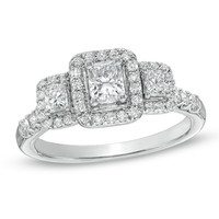 1 CT. T.W. Certified Radiant-Cut Diamond Three Stone Ring in 14K White Gold (H-I/I1)