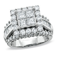 3 CT. T.W. Princess-Cut Quad Diamond Engagement Ring in 14K White Gold