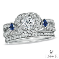 Vera Wang LOVE Collection 1-1/4 CT. T.W. Diamond and Sapphire Frame Bridal Set in 14K White Gold