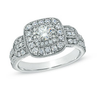 Celebration Grand® 1 CT. T.W. Diamond Frame Vintage-Style Engagement Ring in 14K White Gold (I/I1)