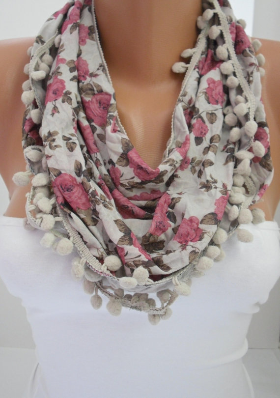 Floral Pompom Shawl Scarf - Headband Necklace Cowl
