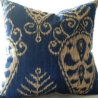 Ikat Print Sapphire Pillow Cover 18x18 pillow cover
