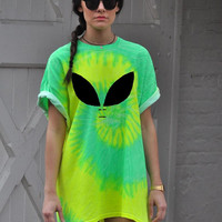 Oversized T-Shirt Alien Tie Dye dress HALLOWEEN costume!