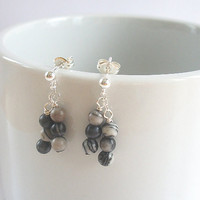 Jasper Earrings in Sterling Silver, Black Bead Earrings