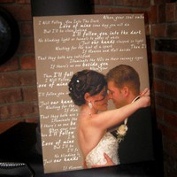 Wedding Gift for Newlywed couple Canvas Your Photo and Your Personalized Vows, Text 12x24 inches
