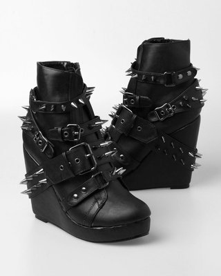 Abbey Dawn 109 Studded Wedge Bootie - Black