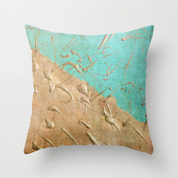 Copper Rain Throw Pillow by Lisa Argyropoulos