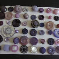 48 Vintage Shabby Chic Unique Different Shades of Purple Plastic Sewing Buttons