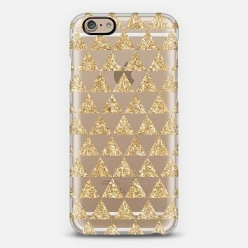 Glitter Triangles in Gold - Phone Crystal Clear iPhone 6 case by Nika Martinez | Casetify