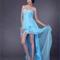 High-low Strapless Sweetheart with Beadings Zipper Chiffon Prom Dress PD1936