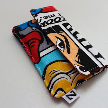Comic iphone case, fabric iphone case, smartphone sleeve, canvas iphone case, geek iphone case, gift for men, geek gift, nerdy gift