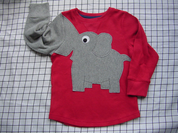 Elephant trunk sleeve toddlers size 2T crewneck RED