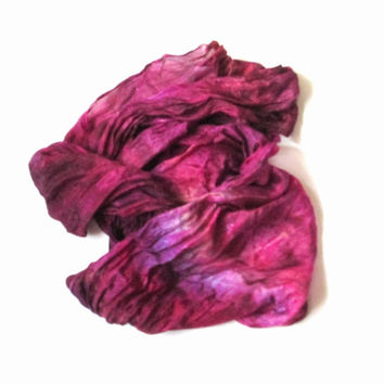 OOAK Silk scarf ruffled Hand Dyed Fuchsia Purple Burgundy Cherry New design