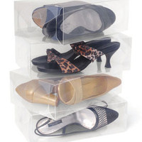 Clear Plastic Womens Shoe Storage Boxes (Set of 10)