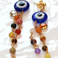 Multicolor Evil Eye Agate Bead Swarovski Crystal Gold Dangle Earrings Fizz Candy