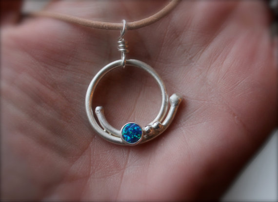 Opal sterling silver necklace. Circle with dots design. Large silver pendant. Opal mosaic pendant. Blue and Green. leather necklace.