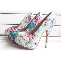 Flowered Fabric Pump
