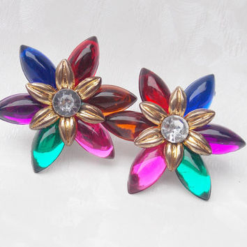 Vintage 1970s / 1980s Multi Coloured Floral Clip on Earrings