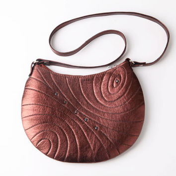 Copper quilted leather purse. Small leather crossbody bag.