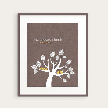 Personalized Family Tree Art, Lovebirds With Chicks Family Wall Art, Woodland Home Decor Print, Gray and Yellow, You Choose Colors, 8x10