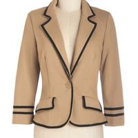 ModCloth Nautical, Scholastic Short Length 3 Academia Ahoy Blazer in Tan