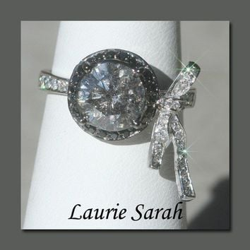 Grey Diamond Designer Bow Ring LAURIE SARAH by LaurieSarahDesigns