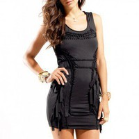 Braided Rocker Sleeveless Dress in Black