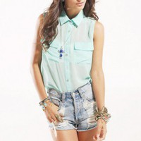 Utility Pocket Chiffon Blouse in Mint