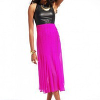 Shakuhachi Leather Silk Chiffon Pleated Maxi Dress
