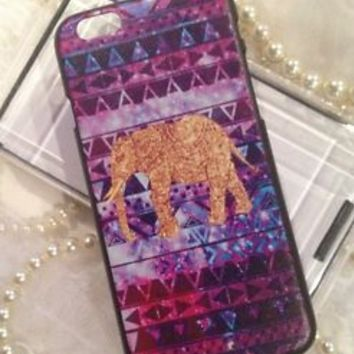 """iPhone 6 4.7"""" Case Cover Shell Pink Gold Purple Tribal Colorful Design Bling"""