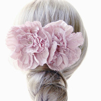 Handmade pink silk satin flower hair comb