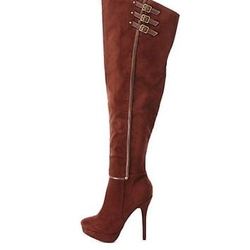 Thigh High Belted Platform Boots by Charlotte Russe - Brown