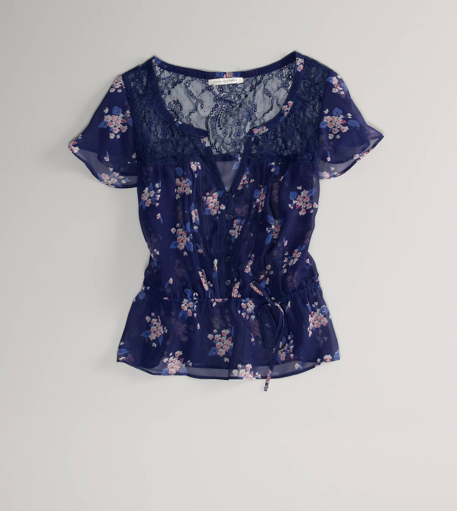 Ae Floral Flutter Sleeve Top American From American