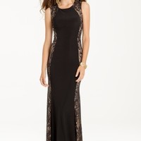 Sequined Dress with Lace Panel Side and Back